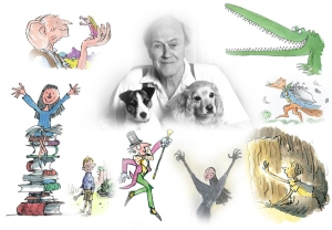 My Roald Dahl collage featuring some of his most popular characters (as drawn by the amazing Quentin Blake).  Surrounding Mr. Dahl and his pups are: at the top left are: The BFG, Sophie, Dahl with his pups, The Enormous Crocodile, Mr. Fox, James, the Grand High Witch, Willy Wonka, and Matilda.
