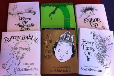 "The Shel Silverstein collection ""borrowed"" from the shelves of an obliging independent brick and mortar bookstore, Greetings and Readings in Hunt Valley, Maryland."