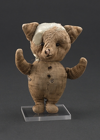 Well loved and well used, this is the original Piglet. One of Christopher Robin Milne's surviving stuffed animals, Piglet resides at the New York Public Library.
