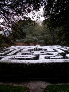 View of the box wood maze taken from the top of the pyramid. This was from our 2010 trip, and it had just snowed.