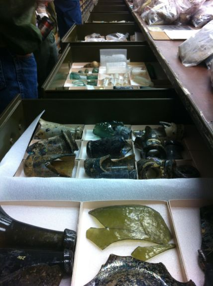 Glass fragments are sorted by type in drawer in the Archeology labs in Williamsburg.