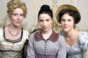 "Masterpiece Theatre - The Complete Jane Austen: ""Persuasion"" - Julia Davis as Elizabeth Elliot, Sally Hawkins as Anne Elliot, Amanda Hale as Mary Musgrove [Photo credit: Nick Briggs/Masterpiece Theatre]"