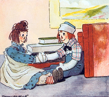 Raggedy Anne and Andy's adventures are available on Project Guttenberg at www.guttenber.org