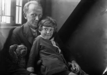A.A. Milne; Christopher Robin Milne and Pooh Bear  by: Howard Coster