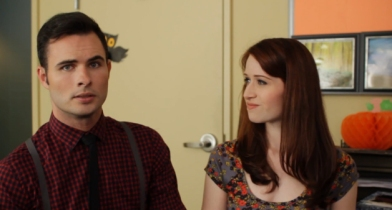 Daniel Vincent Gordh and Ashley Clements tackle the proposal scene in the Lizzie Bennet Diaries
