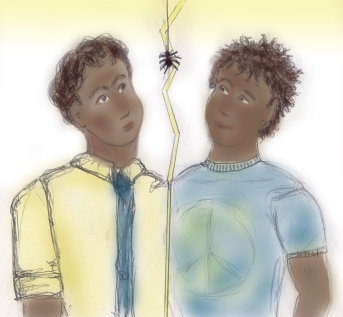 My take on the Anansi brothers, Fat Charlie and Spider. [Copyright: ritaLOVEStoWRITE.]
