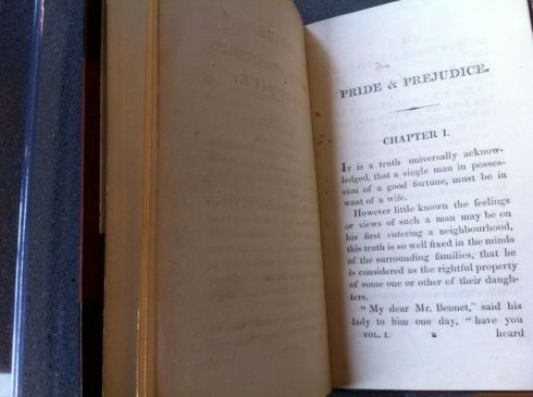 Opening page of a 200 year old first edition Pride and Prejudice.