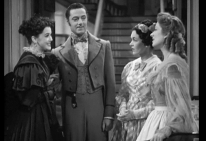 A triumphant Lydia returns home with her husband in the 1940 movie. With Ann Rutherford (Lydia), Edward Ashley (Wickham), Maureen O'Sullivan (Jane), and Greer Garson (Lizzie).