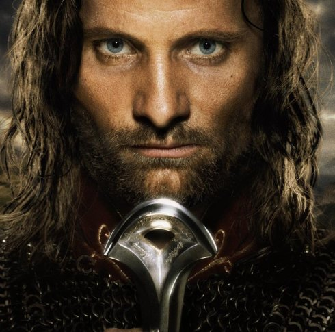 Viggio Morgenson as Aragorn in the Peter Jackson Lord of the Rings: Return of the King.