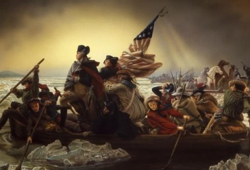 Emanuel Leutze's famous (and highly stylized) version of Washington crossing the Delaware river.