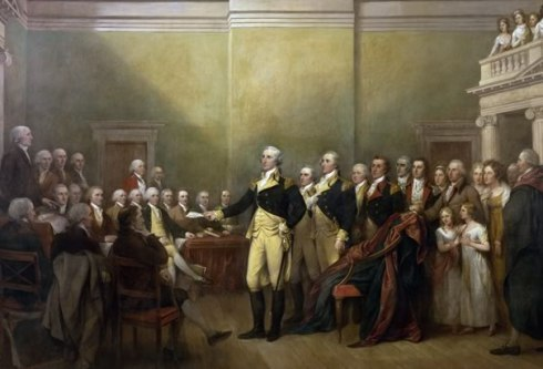 Washington was one of artist John Trumbull's favorite subjects. Here he is  resigning as commander and chief.