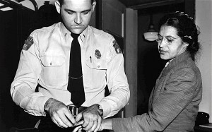 Rosa Parks getting fingerprinted after her arrest.