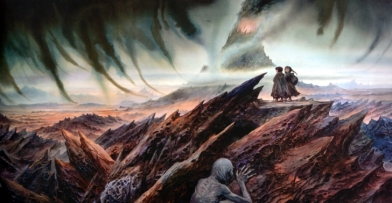 Frodo and Sam enter Mordor (Image courtesy Wallpapermay.com]