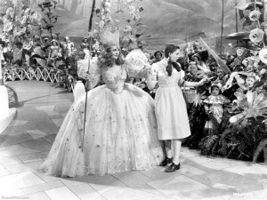 Billie Burke as Glinda and Judy Garland as Dorothy in the 1939 movie of The Wizard of Oz [Image courtesy: Well Happy Peaceful]