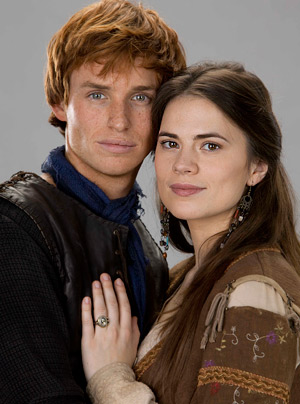 Publicity shot for Pillars of the Earth with Eddy Redmayne (Jack) and Hayley Atwell (Aliena) [Image courtesy: xyz]