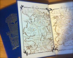 End paper from A Game of Thrones showing a map of the North. The Starks live in Winterfell which is about center on the map.