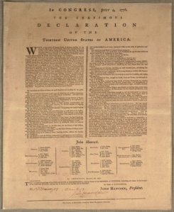 Goddard's published copy of the Declaration of Independence with all the signers identified. [Image courtesy McHenry Country Turning Point.org]