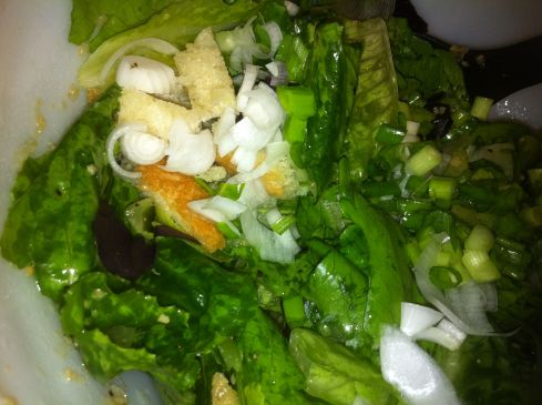 All the veggies in the salad before mixing or dressing