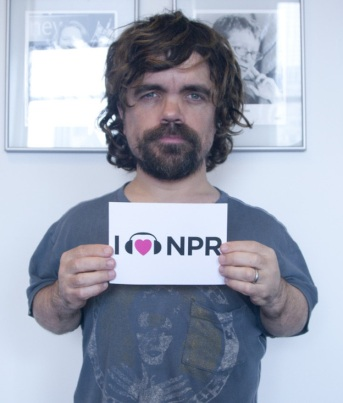 Dinklage visiting the NPR studios  [Image courtesy: NPR] [Yes Maggie, I put this on in just for you.]
