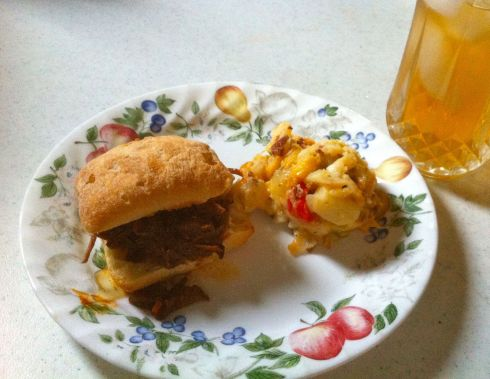 Serving suggestion: We had our Summer Bounty Potato Salad with pulled pork bbq sliders. Fresh brewed iced tea complimented the meal.