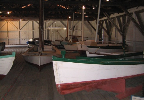 Interior of one of the boat barns at the Maritime Museum