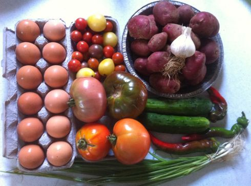 It was our week for eggs  (we get a half share -- so we pick up a dozen ever other week.  The box also included: cucumbers tomatoes, Colorado rose  potatoes, sweet peppers scallions, bok choi*, cherry tomatoes and garlic. (*I swapped out the bok choi for a second helping of potatoes.)