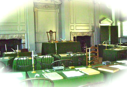The Assembly Room inside Independence Hall, where the Declaration of Independence was signed.