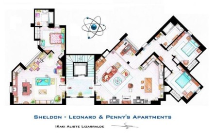 Floor plan for Penny, Sheldon and Leonard's floor (The Big Bang theory) [Image courtesy: Floor Plans of Famous Television Shows]
