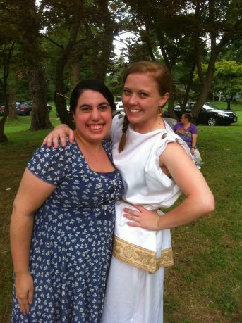 Hermia (Lisa Davidson) and fan (Maggie) off stage during intermission at the Factory's Mid Summer.