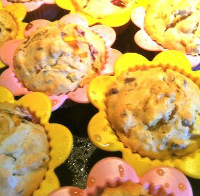 Nectarine Plum Granola Muffins fresh from the oven
