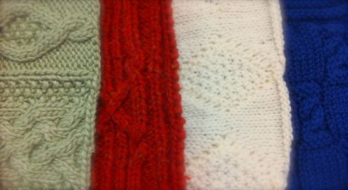 Some of the dozens of samples that Kathy Zimmerman brought to class to explain Aran Knitting