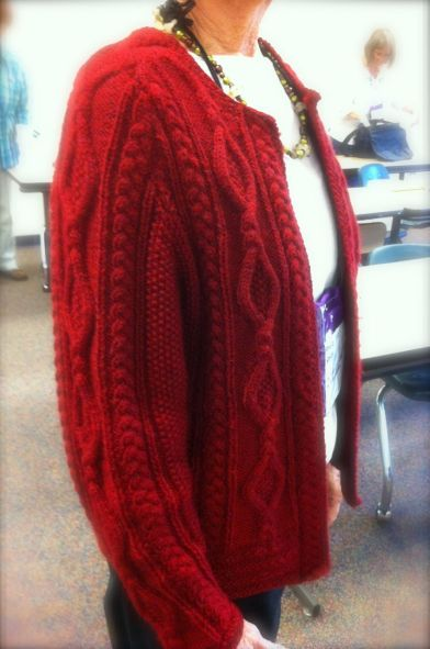 One of Kathy Zimmerman's Aran sweater designs (this one graced the pages of a national knit magazine)