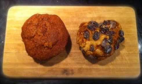 Plain Pumpkin muffins and Raisin enhanced Pumpkin muffins sit side by side in harmony on my mini cutting board.