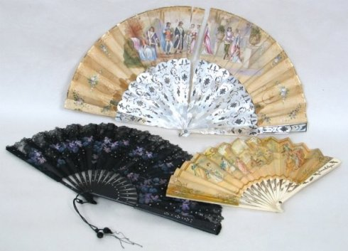 An assortment of fans found on www.JaneAusten.com http://www.janeausten.co.uk/wp-content/uploads/2000/01/3-regency-fans.jpg