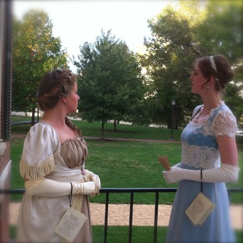 Lorraine Imwold  and Shaina Higgins look  out over grounds of Homewood House.