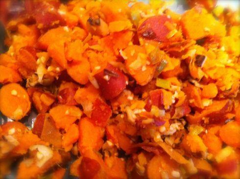 Sweet Potato Leak side dish. Ready to eat.