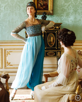 Lady Sybil turns a few head with her new -- trouser -- frock. (Image courtesy: Downton Abbey/PBS)