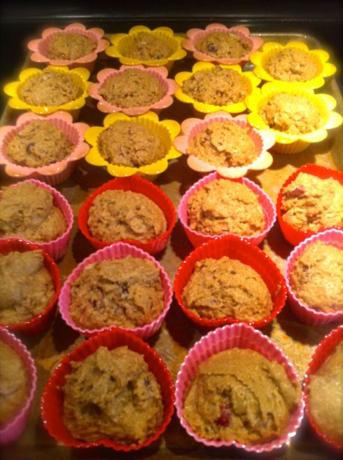 Cranberry Muffins ready for the oven.