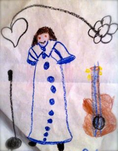 Me in a rather interpretive illustration by my daughter  when she was in early elementary school.