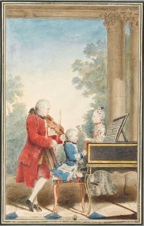 Portrait de Wolfgang Amadeus Mozart (Salzbourg, 1756-Vienne, 1791) jouant à Paris avec son père Jean-Georg-Léopold et sa sœur Maria-Anna [Image courtesy: Wikimedia Commons]