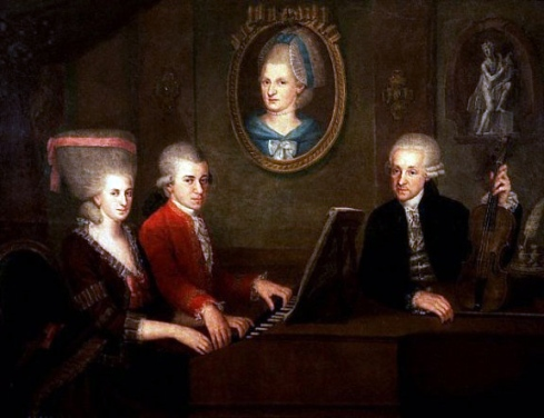 "Circa 1780: Family portrait: Maria Anna (""Nannerl"") Mozart, her brother Wolfgang, their mother Anna Maria (medallion) and father, Leopold Mozart, by artist: Johann Nepomuk della Croce [Image courtesy: Wikimedia Commons]"