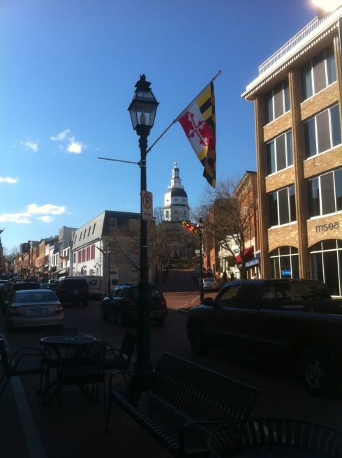 Downtown Annapolis. The State House tower is center.