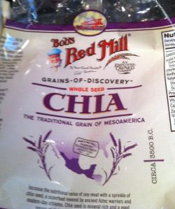 I picked up my package of Chia seeds at the Red MIll display of my local grocery store. The fresh pomegranates were in the produce aisle at Trader Joe's.