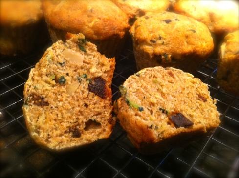 Zucchini Fig Almond muffins from the ritaLOVEStoWRITE test kitchen