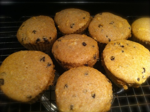 Almond Currant muffins cooling