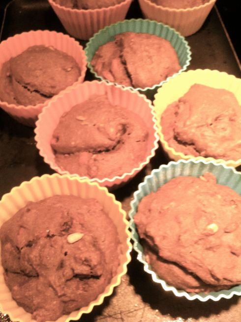 Felt like using my big muffin cups today. Here are the Choc. Goji Sesame muffins right out of the oven.