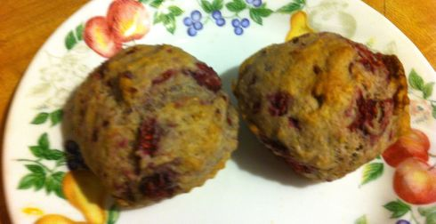 These Raspberry Pecan muffins are good on their own. But if you are livin' large and want to ramp up the flavor volume spread a bit of goat cheese on top a hot muffin.