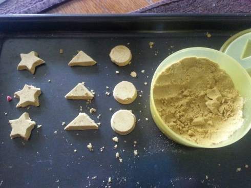 "The other day she used modeling sand to make ""sand cookies""."