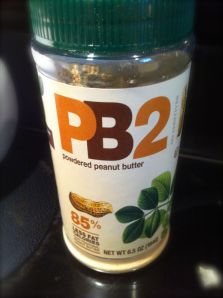 I discovered powdered peanut butter at my local grocery store. It is great for smoothies and baking, and has far less calories than traditional peanut butter.