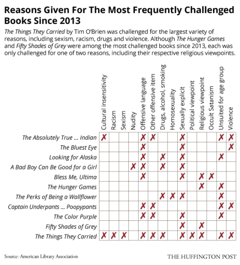 This is the matrix I use in trying to determine why a book has been challenged or banned.